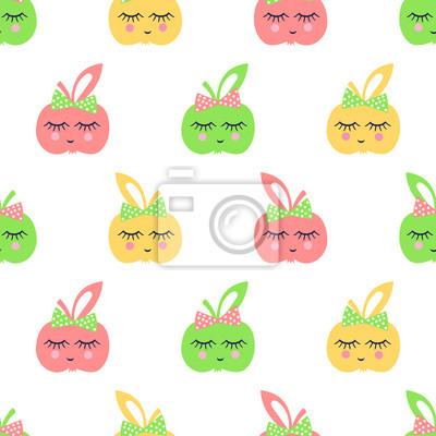 Fototapete Nahtloses Muster mit lächelnden Apfel für Kinder Urlaub.