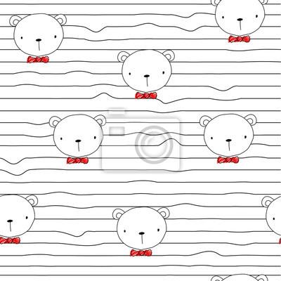 Fototapete Nahtloses Muster mit lustigem Bären und roter Fliege. Gezeichnete Illustration des Vektors Hand.