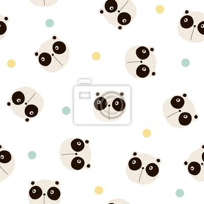 Fototapete Nahtloses Muster mit lustigem Panda und Tupfen. Gezeichnete Illustration des Vektors Hand.