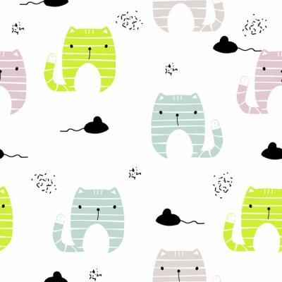 Fototapete Nahtloses Muster mit lustiger Katze und schwarzer Maus. Gezeichnete Illustration des Vektors Hand.