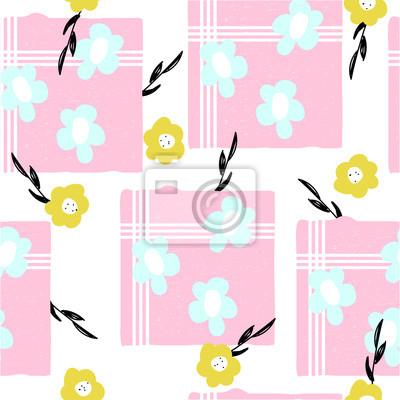 Fototapete Nahtloses Muster mit netten Pastellblumen. Gezeichnete Illustration des Vektors Hand.