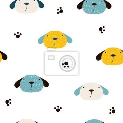 Fototapete Nahtloses Muster mit niedlichen Hunden. Gezeichnete Illustration des Vektors Hand.