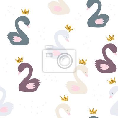 Fototapete Nahtloses Muster mit Prinzessin Swan und Goldglitter krönen. Gezeichnete Illustration des Vektors Hand.