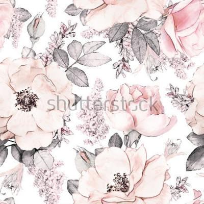 Fototapete Nahtloses Muster mit rosa Blumen und Blättern auf weißem Hintergrund, Aquarellblumenmuster, Blume stieg in die Pastellfarbe, tileable für Tapete, Karte oder Gewebe