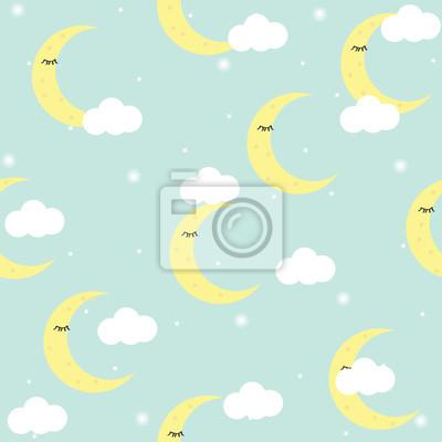 Fototapete Nahtloses Muster mit Sternen, Mond, Wolken. Niedlicher Babydruck, Tapete. Vektor-Illustration.