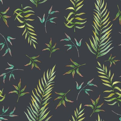 Fototapete Nahtloses Muster mit tropischen Blättern auf einem dunklen Hintergrund