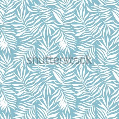 Fototapete Nahtloses Muster mit tropischen Palmblättern. Schöner Druck mit handgezeichneten exotischen Pflanzen. Botanischer Entwurf der Badebekleidung. Vektor-illustration
