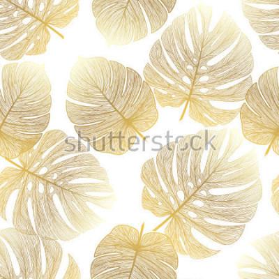 Fototapete Nahtloses Muster mit tropischer Blattpalme. Vektor-Illustration.