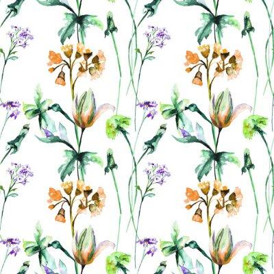 Fototapete Nahtloses Muster mit ursprünglichen Sommerblumen