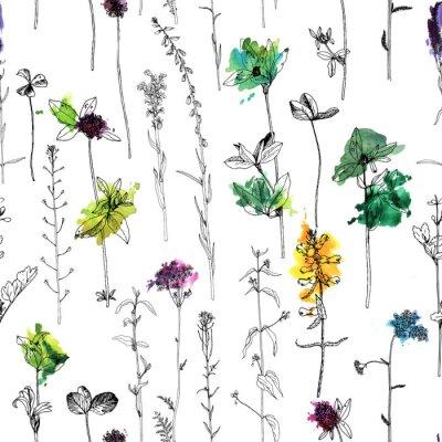 Fototapete Nahtloses Muster mit Zeichnungskräutern und -blumen