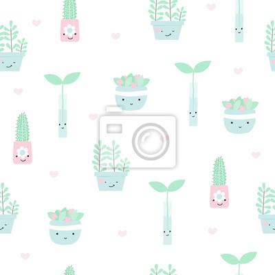 Fototapete Nahtloses Muster mit Zimmerpflanzen in den Töpfen. Gezeichnete Illustration des Vektors Hand.
