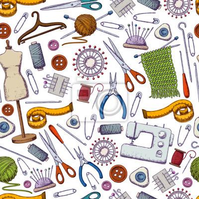 Nahtloses muster von werkzeugen für näharbeit und nähen ...