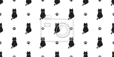 Fototapete Nahtloses Musterkätzchen der Katze Katzenpfote lokalisierte Endstückgekritzel-Vektortapetenhintergrund