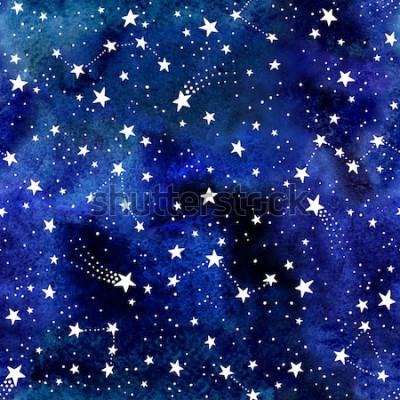 Fototapete Nahtloses Raummuster des Aquarells mit Konstellationen und Sternen. Astronomischer blauer Hintergrund