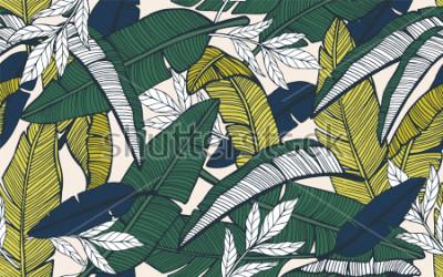 Fototapete Nahtloses tropisches Muster mit Bananenblättern. Handgezeichnete Vektor-Illustration