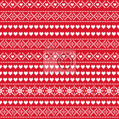 Fototapete Nahtloses Weihnachtsmuster. Skandinavische Pullover-Stil. Weihnachtshintergrund mit Herzen, Schneeflocken. Design für Textilien, Tapeten, Web, Stoff und Dekor etc.