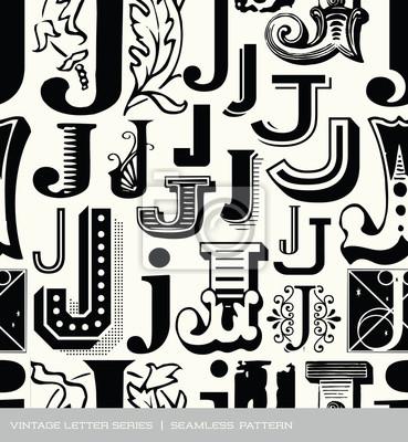 Nahtloses Weinlesemuster-Buchstabe J