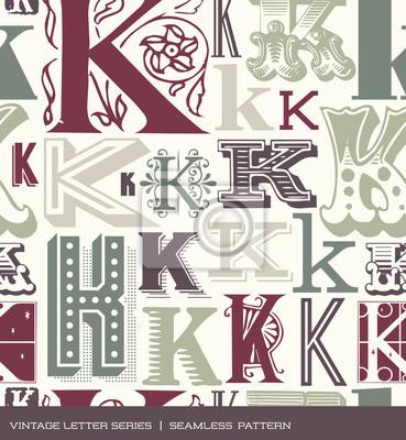 Nahtloses Weinlesemuster-Buchstabe K in Retro-Farben