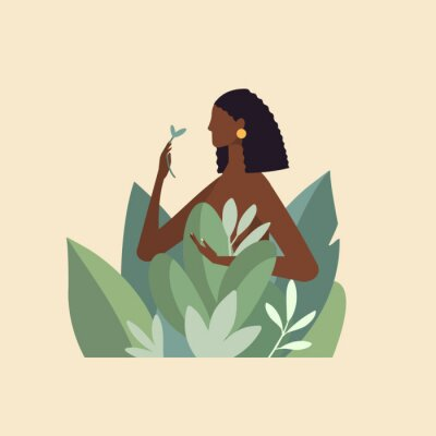 Fototapete Naked beautiful young woman in big leaves with dark skin and hair. African American girl keep organic green plant. Concept of natural cosmetics for body care and beauty. Illustration in flat design