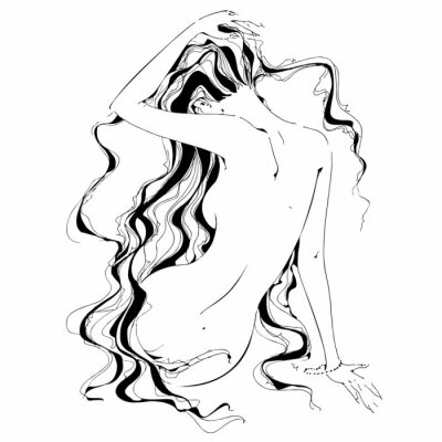 Fototapete Naked girl. Graphics. Curls. The Nude. Vector