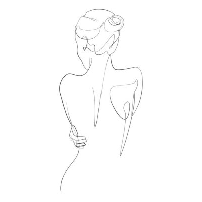 Fototapete Naked woman standing back one line drawing on white isolated background. Vector illustration