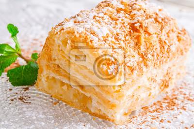 Napoleon Kuchen Auf Glasplatte Nahansicht Fototapete Fototapeten