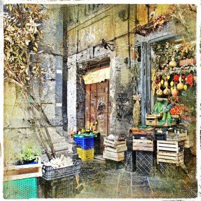 Fototapete Napoli, Italien - alten Gassen mit kleinen Laden, künstlerische Bild