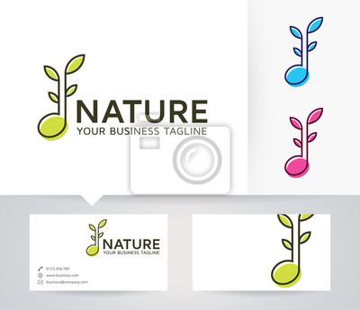 Natur Musik Vektor Logo Mit Alternativen Farben Und