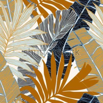 Fototapete Natur nahtloses Muster. Hand gezeichneter abstrakter tropischer Sommerhintergrund: Palme und Banane verlässt im Schattenbild, Linie Kunst. Vektorkunstabbildung in den goldenen Retro- Farben