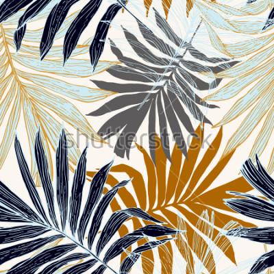 Fototapete Natur nahtloses Muster. Hand gezeichneter abstrakter tropischer Sommerhintergrund: Palme verlässt im Schattenbild, Linie Kunst. Vektorkunstabbildung in den goldenen Retro- Farben