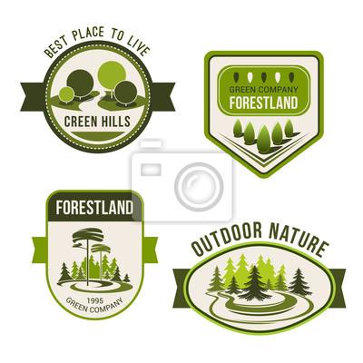 Natur, Park, Garten Platz und Wald Symbol gesetzt