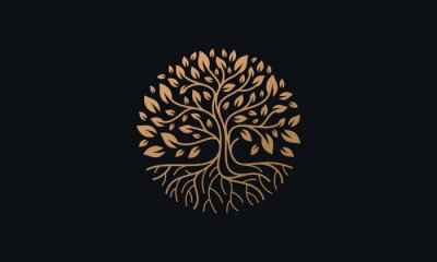 Fototapete Natural Vector Tree Logo Illustration Nature Tree Golden Roots and Growth Design Template