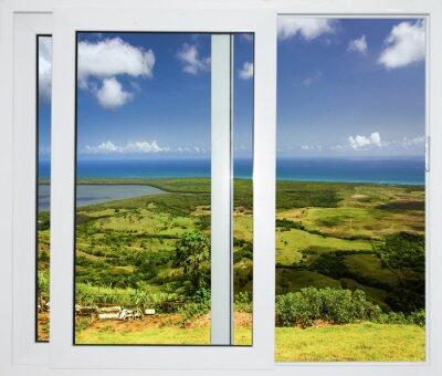 Fototapete Naturlandschaft mit Blick durch ein Fenster