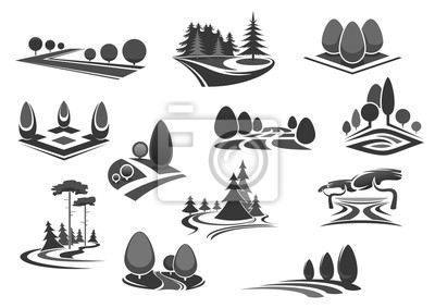 Naturlandschaftsikone eingestellt mit Baum und Anlage