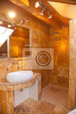 Travertin Badezimmer | Naturstein Badezimmer Travertin Gold Fototapete Fototapeten