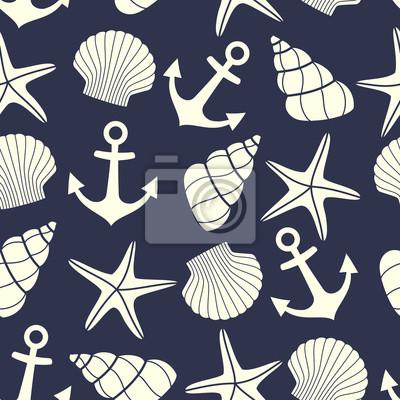 Fototapete Nautical nahtlose Muster mit Seestern, Schale, Anker auf dunkelblauem Hintergrund. Cute marine Leben Hintergrund. Sommer-Meer-Thema. Design für Stoff und Dekor.