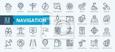 Fototapete Navigation, location, GPS elements -  thin line web icon set. Outline icons collection. Simple vector illustration.