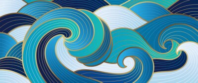 Fototapete Navy blue Gold abstract wave line arts background vector. Luxury wall paper design for prints, wall arts and home decoration, cover and packaging design.