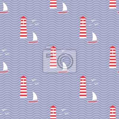 Fototapete Navy nahtlose Meer Muster: Segelboot, Leuchtturm, Möwe, Welle.