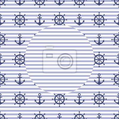 Fototapete Navy vector card: anchor and steering wheel. Cute nautical background for summer holidays with space for your text