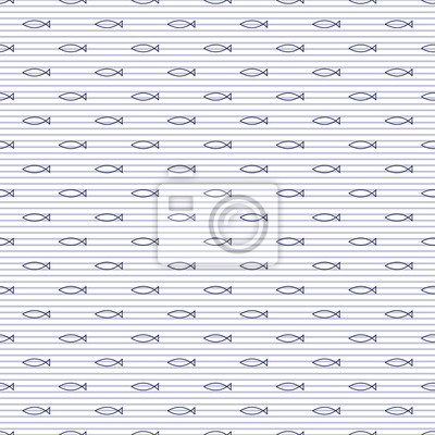Fototapete Navy vector seamless pattern with fish and stripes. Cute nautical background. Marine life Background. Baby shower vector illustration.