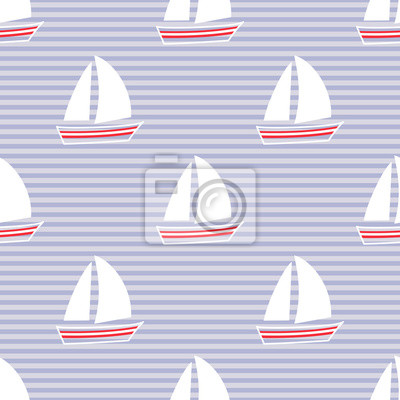 Fototapete Navy vector seamless pattern with sailboat. Cute nautical background. Marine life Background Collection. Baby shower vector illustration.