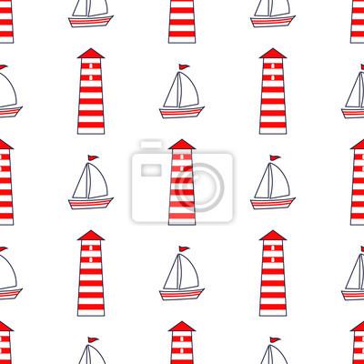 Fototapete Navy vector seamless sea pattern: Segelboot, Leuchtturm. Nette nautischen Hintergrund. Meerestiere Background Collection. Baby-Dusche-Vektor-Illustration.