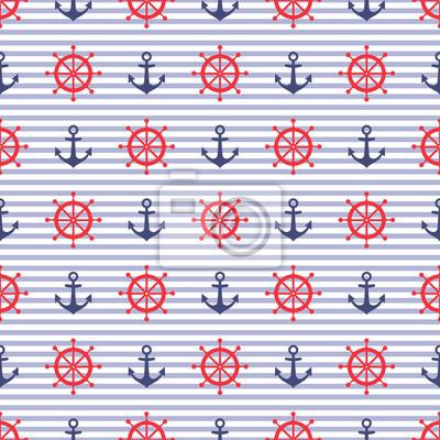 Fototapete Navy Vektor nahtlose Muster: Anker und Steuerrad. Nette nautischen gestreiften Hintergrund.