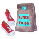 Nehmen sie lunchbag mit roten klassischen paar schuhe. aquarell handgemalte  skizze abbildung. 3967902dc4