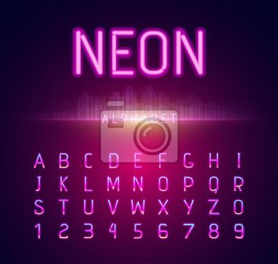 Neon-Alphabet-Schriftart-flacher Entwurf