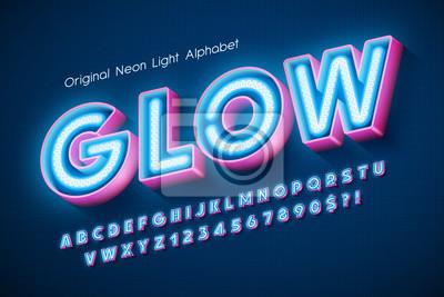 Fototapete Neon light 3d alphabet, extra glowing modern type.