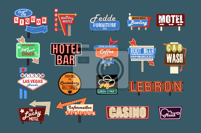 Fototapete Neon signboards, billboards, light boxes and banners set of vector Illustrations