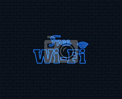 Neonlicht. kostenloses wifi-zeichen. wlan-symbol. drahtloses ...