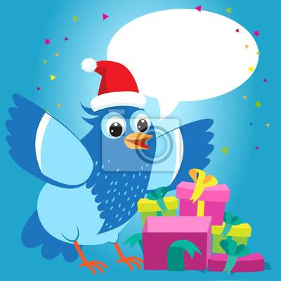 Nett mit dir zu reden. frohe weihnachten-karte mit cartoon blue ...